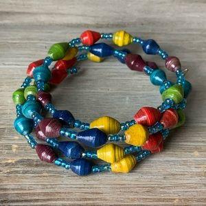 Paper beaded spiral wrap bracelet